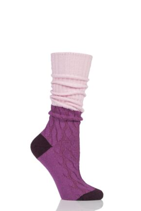 Ladies 1 Pair Pantherella Cashmere Blend Clara Slouch Boot Socks Pink 4-7