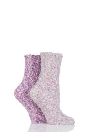 Ladies 2 Pair SockShop Snugsoles Chunky Popcorn Socks Pink 4-8