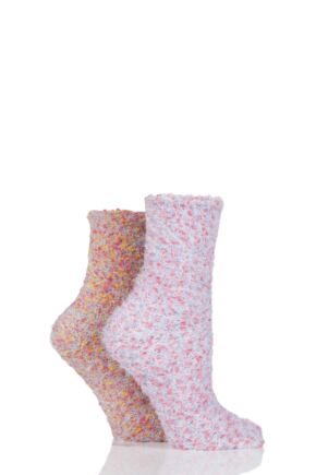 Ladies 2 Pair SockShop Snugsoles Chunky Popcorn Socks