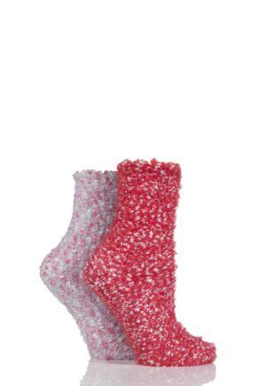 Ladies 2 Pair SockShop Snugsoles Chunky Popcorn Socks