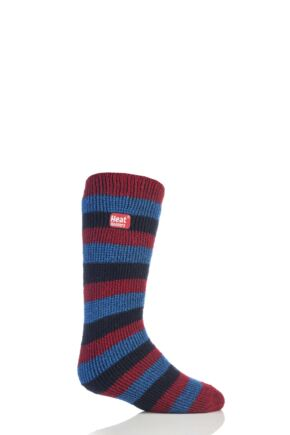 Kids 1 Pair Heat Holders Long Leg Striped Thermal Socks Red 4-5.5 Kids