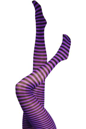 Ladies 1 Pair Silky Scarlet Ringer Striped Tights Black & Purple