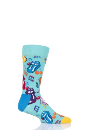 Mens and Ladies 1 Pair Happy Socks Rolling Stones Crazy Tongue and Lips Cotton Socks