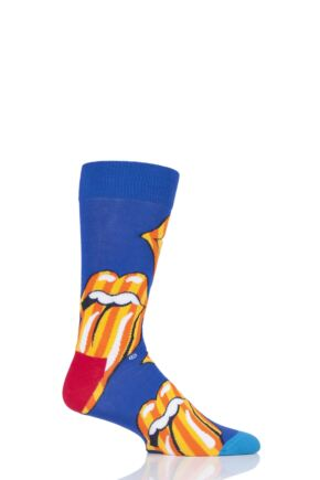 Mens and Ladies 1 Pair Happy Socks Rolling Stones Large Tongue and Lips Cotton Socks