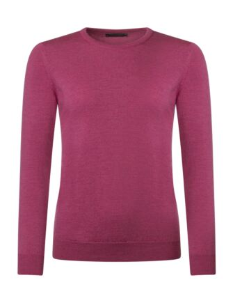 Ladies Great & British Knitwear 100% Merino Round Neck Jumper Sangria B Small