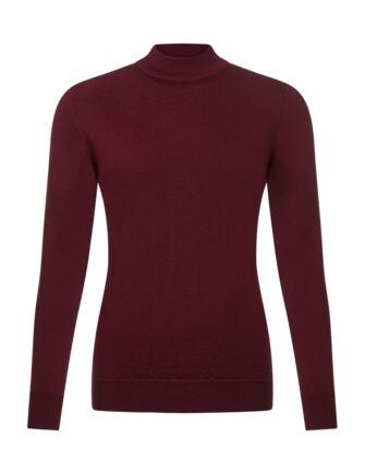 Ladies Great & British Knitwear 100% Merino Mock Turtle Neck Jumper Bordeaux D Large