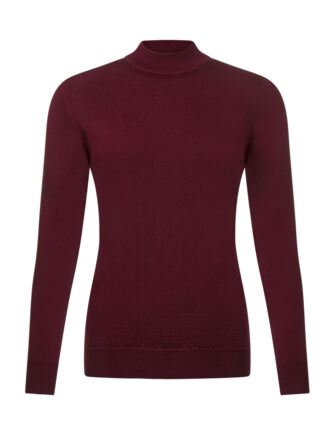 Ladies Great & British Knitwear 100% Merino Mock Turtle Neck Jumper Bordeaux E Extra Large