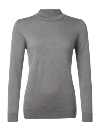 Ladies Great & British Knitwear 100% Merino Mock Turtle Neck Jumper Mercury B Small