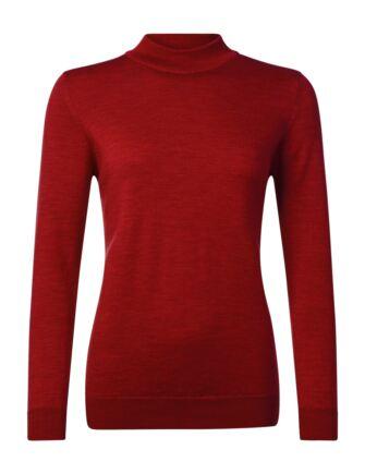 Ladies Great & British Knitwear 100% Merino Mock Turtle Neck Jumper Tartan Scarlet C Medium
