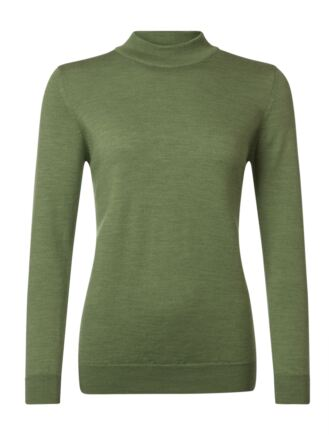 Ladies Great & British Knitwear 100% Merino Mock Turtle Neck Jumper Watercress C Medium