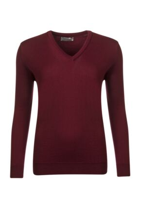 Ladies Great & British Knitwear 100% Merino V Neck Jumper Bordeaux B Small