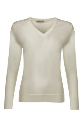 Ladies Great & British Knitwear 100% Merino V Neck Jumper Arctic White D Large