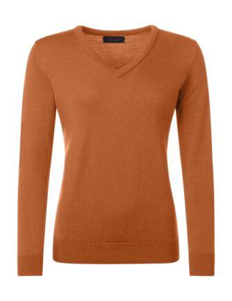 Ladies Great & British Knitwear 100% Merino V Neck Jumper Spice D Large