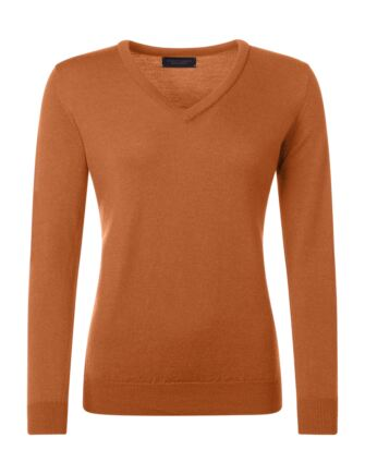 Ladies Great & British Knitwear 100% Merino V Neck Jumper Spice B Small
