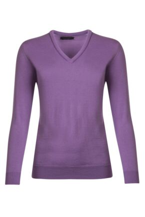 Ladies Great & British Knitwear 100% Merino V Neck Jumper Jupiter D Large