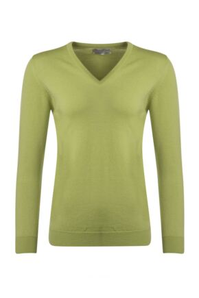 Ladies Great & British Knitwear 100% Merino V Neck Jumper Pistachio D Large