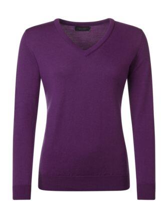Ladies Great & British Knitwear 100% Merino V Neck Jumper Ametista B Small
