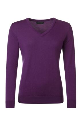 Ladies Great & British Knitwear 100% Merino V Neck Jumper Ametista C Medium