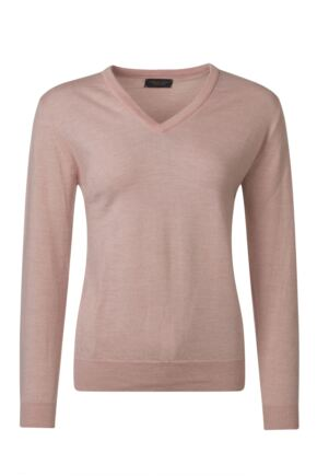 Ladies Great & British Knitwear 100% Merino V Neck Jumper Rambling Rose B Small