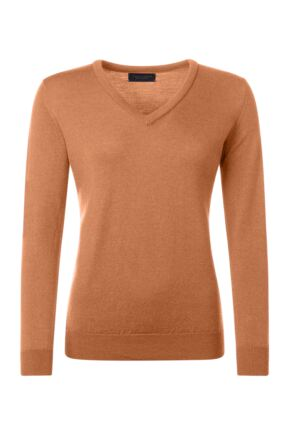 Ladies Great & British Knitwear 100% Merino V Neck Jumper Peach Melba D Large