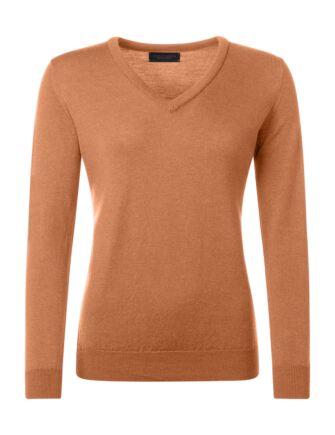 Ladies Great & British Knitwear 100% Merino V Neck Jumper Peach Melba C Medium