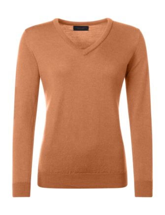 Ladies Great & British Knitwear 100% Merino V Neck Jumper Peach Melba D Large