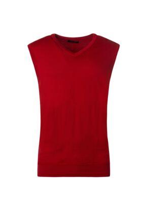 Mens Great & British Knitwear 100% Merino Plain V Neck Slipover Tartan Scarlet D Large