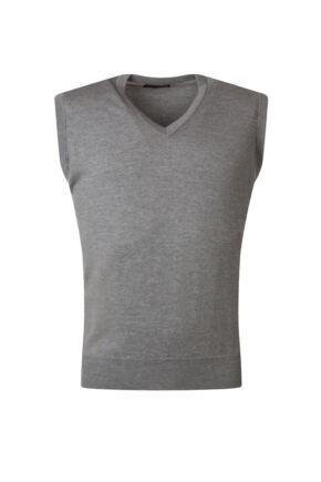 Mens Great & British Knitwear 100% Merino Plain V Neck Slipover Dove Grey C Medium