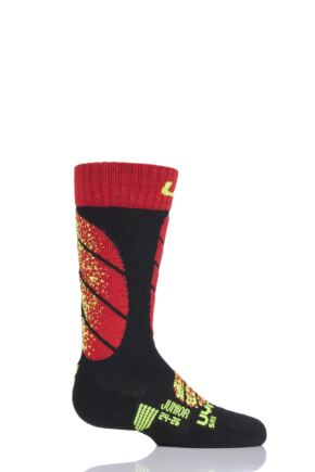 Boys and Girls 1 Pair UYN Junior Ski Socks Black 24-26