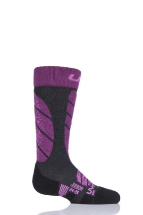 Boys and Girls 1 Pair UYN Junior Ski Socks Charcoal 35-38