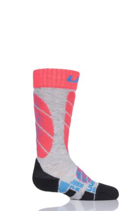 Boys and Girls 1 Pair UYN Junior Ski Socks Light Grey 35-38