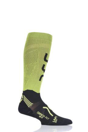 Mens 1 Pair UYN Run Compression Fly Socks Green 42-44
