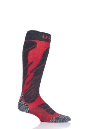 Mens 1 Pair UYN Ski Magma Socks Red 45-47