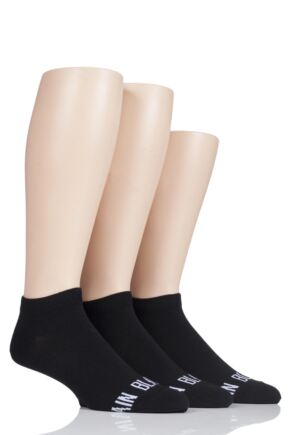 Mens 3 Pair SockShop Wild Feet 'Plain Black Socks' Trainer Socks