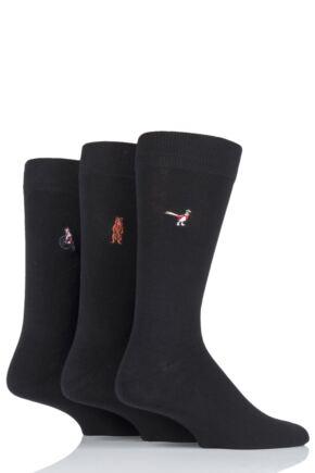 Mens 3 Pair SOCKSHOP Wild Feet Embroidered Novelty Cotton Socks