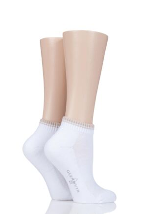 Ladies 2 Pair Glenmuir Ardelle Half Cushion Secret Socks White / Sand