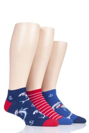 Mens 3 Pair SOCKSHOP Wild Feet Novelty Cotton Trainer Socks