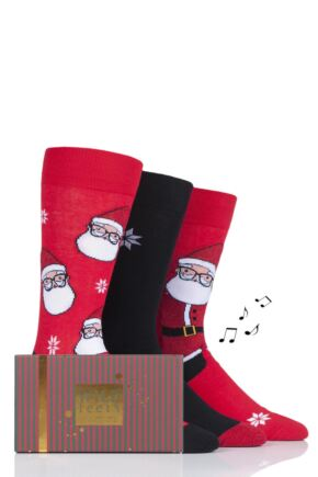 Mens 3 Pair SockShop Wild Feet Musical Gift Boxed Santa Glasses Cotton Socks