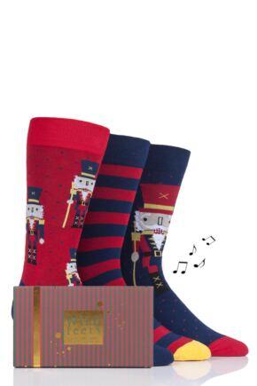 Mens 3 Pair SockShop Wild Feet Musical Gift Boxed Nutcracker Cotton Socks