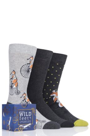 Mens 3 Pair SOCKSHOP Wild Feet Gift Boxed Novelty Cotton Socks Fox 7-11 Mens