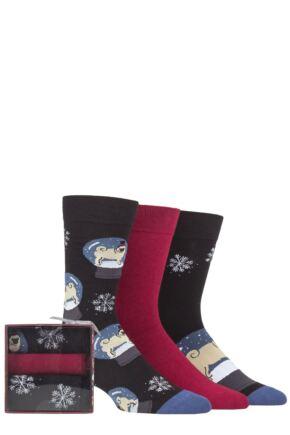 Mens 3 Pair SOCKSHOP Wild Feet Dogs Gift Boxed Socks