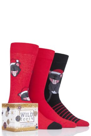 Mens 3 Pair SOCKSHOP Wild Feet Christmas Gift Boxed Novelty Cotton Socks