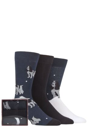 Mens 3 Pair SOCKSHOP Wild Feet Dogs Gift Boxed Socks