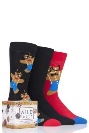 Mens 3 Pair SOCKSHOP Wild Feet Christmas Gift Boxed Novelty Cotton Socks Gingerbread Man 7-11 Mens