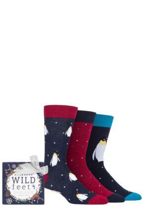 Mens 3 Pair SOCKSHOP Wild Feet Penguin Gift Boxed Socks