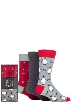 Mens 3 Pair SOCKSHOP Wild Feet Christmas Gift Boxed Socks