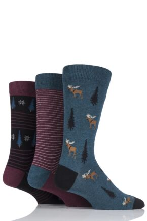 Men's 3 Pair SockShop Wild Feet Patterned Socks Moose 6-11