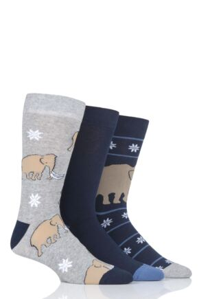 Mens 3 Pair SOCKSHOP Wild Feet Woolly Mammoth Novelty Cotton Socks