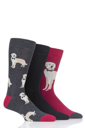 Mens 3 Pair SockShop Wild Feet Golden Retriever Novelty Cotton Socks