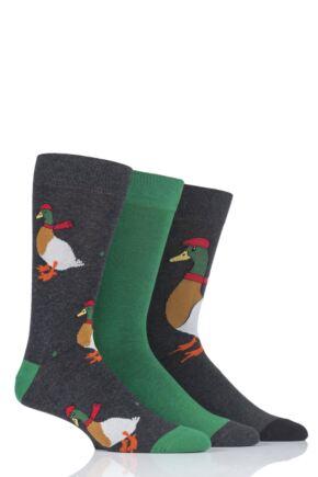 Mens 3 Pair SockShop Wild Feet Sir Duck Novelty Cotton Socks